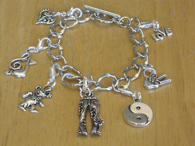 Silver-Tone Hippie/Flower Child/Woodstock/Hippy/60s Charm Bracelet Peace Sign+ - Hippie Flower Child