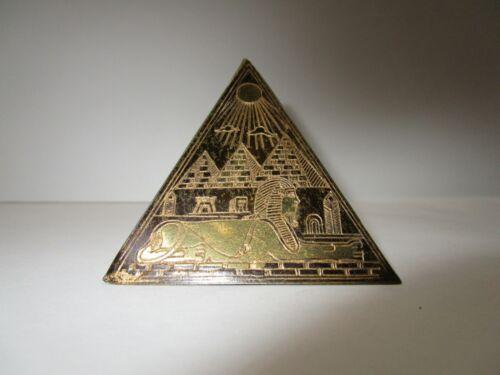 "Vintage Egyptian Souvenir Brass Etched Hieroglyphics Pyramid Paperweight  2"""