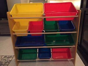 Toy Storage Rack with Toy Buckets!