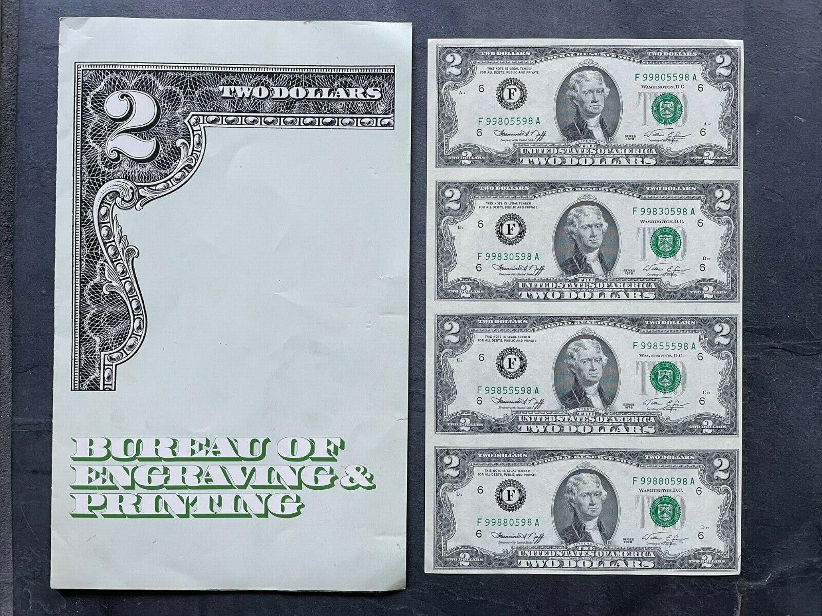 Sheet Of 4 Uncut 2 Two Dollar Bills 1995 Bank Washington DC Collector Folder - $28.00