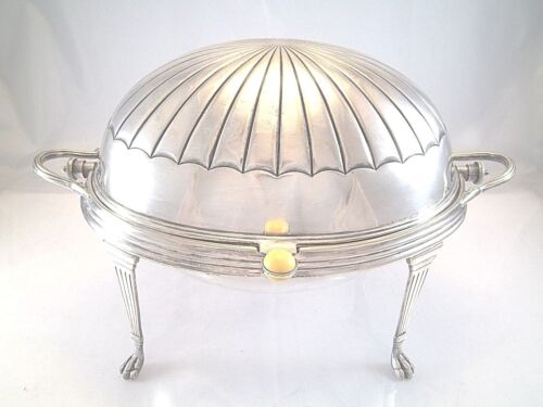 ENGLISH LARGE BACON ROTATING DISH DOME COVER INSERT BREAKFAST WARMER SILVERPLAT