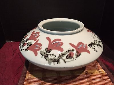 "Asian Porcelain Vase Planter Light Blue Cherry Blossom Marked 13""x7 1/4"""