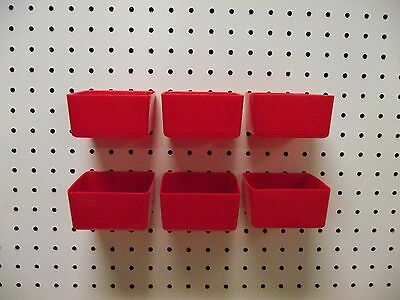 Plastic Red Board Bin 6 Pack Tool Workbench Pegboard Not Included