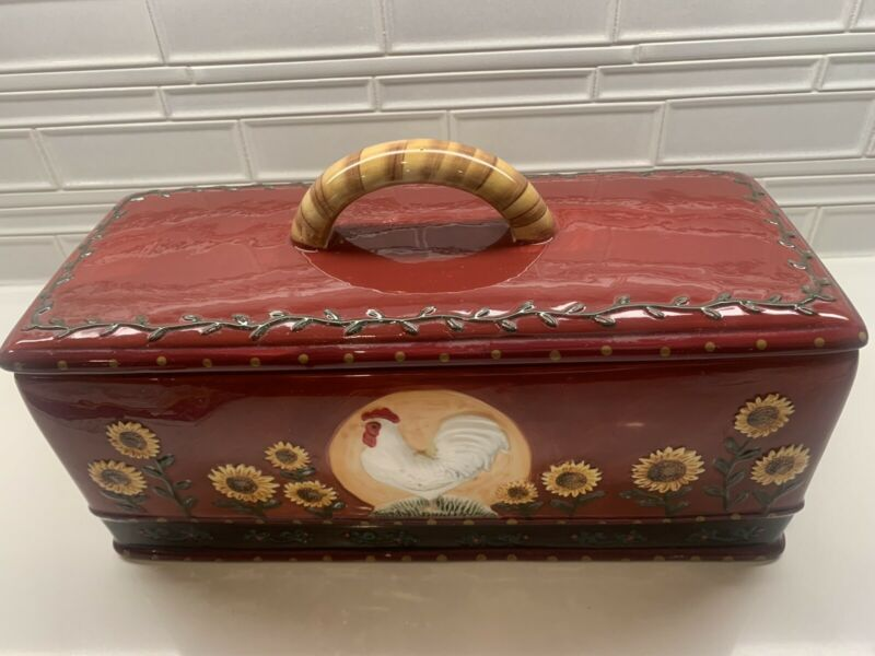 Rare Vintage Ceramic Bread Box Rooster Shuntai Craft Factory Great Condition HTF