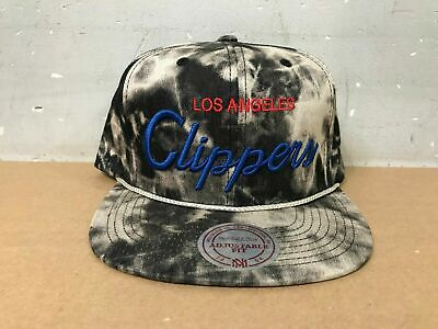 Mitchell & Ness NBA Snapback Hat - Los Angeles Clippers Black Acid Denim Script