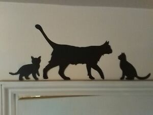Cat & Kittens Door Topper wooden Silhouette Wall Art /plaques/Signs/Gift