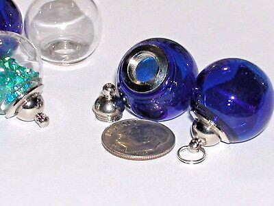 Wide Mouth Glass Crystal Ball Bottle fairy Locket vial Screw cap Globe Orb DK BL