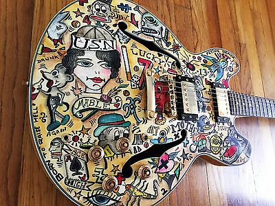 Hollow Body Guitar Custom Vintage Tattoo Flash Hand Painted By Viggo Art Guitar