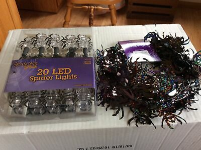 String Of 20 LED Spider Lights Plus A Spider Garland