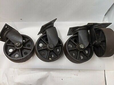 Set Of Four Large Vintage Industrial Caster 8 Inch Heavy Duty Cart Wheels
