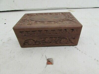 Etched Wood Storage Box with Floral Inlay Hand Carved Wood Trinket Box Made in India Wood Rectangle Shape Jewelry Box with Carved Flowers