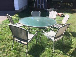 Patio set glass table and 6 chairs