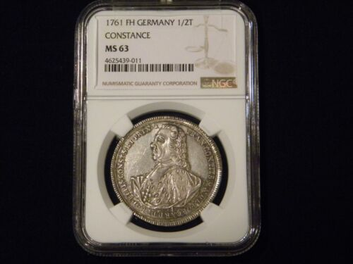1761FH German States Constance 1/2 Thaler NGC MS63