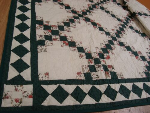 """Handmade QUILT Patchwork Bedspread Fancy Quilted Green Ivory Brick 77"""" x 96"""""""