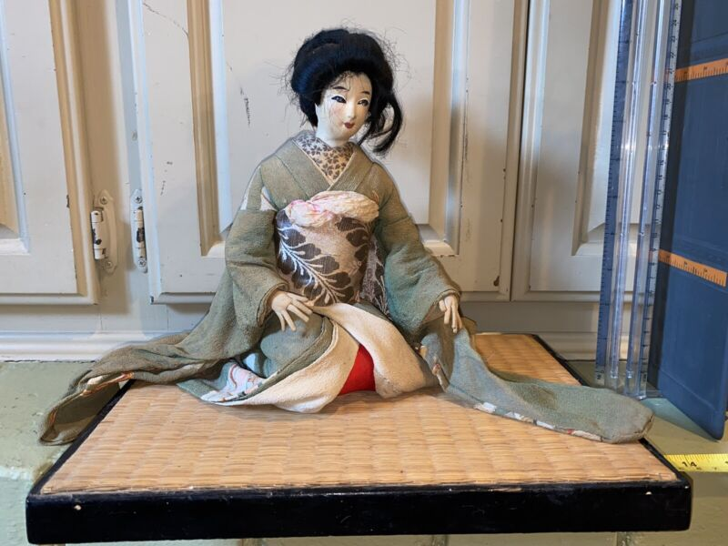 RARE Beautiful Antique Sitting Japanese Geisha Doll Wearing Silk Kimono Stand