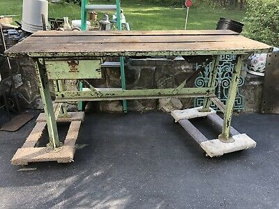 Vintage Lyon 6ft Work Bench With Drawer Green Legs Antique Factory