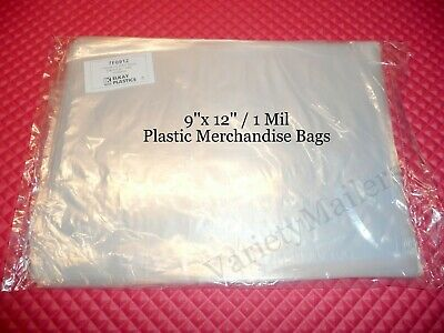 100 Plastic 1 Mil 9x 12 Light Weight Clear Flat Merchandise Bags