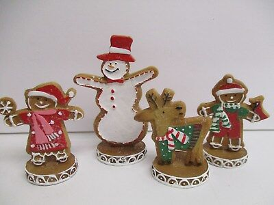 Set of 4 Sugared Gingerbread Cookie Candy Christmas Village decor 2.5