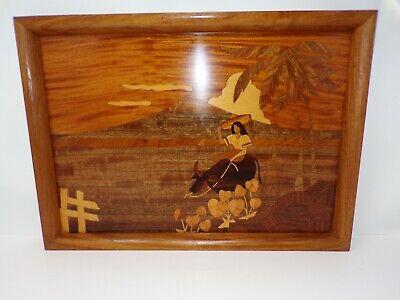 Vtg marquetry wood inlay Island Girl cow ox palm trees handmade tray wall 359