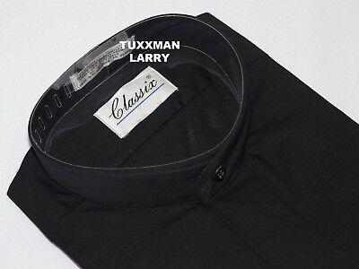 New Mens Black Mandarin Banded Collar Tuxedo Shirt Nehru Chinese TUXXMAN (Black Mandarin Collar Tuxedo)