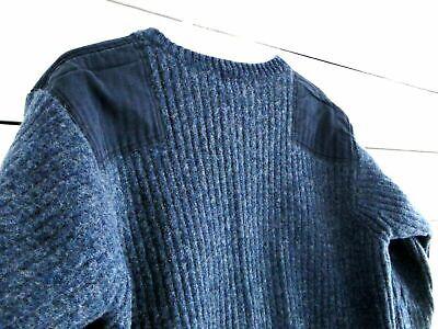 EUC LL BEAN Men XXL TALL Military Wool Elbow Shoulder Patch Blue Sweater 0BHR6
