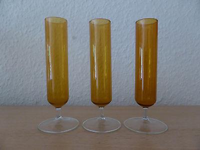 DDR Lauschaer Rauchglas Vasen Gläser Bernstein-farben 1970 Dekoration
