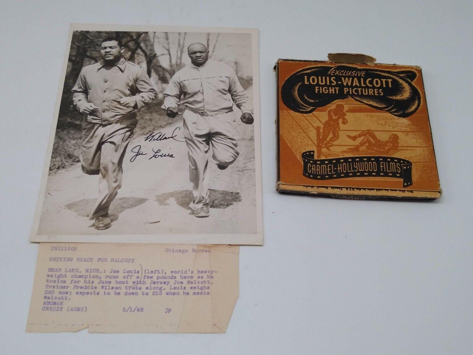World Heavy Weight Champion Joe Louis Autograph Photo and Walcott Fight Film