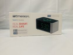 New Bluetooth Emerson SmartSet QI Wireless Phone Charger LED Alarm FM AUX-IN USB