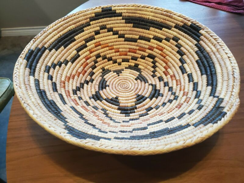 """Vintage Decorative Hand Woven Coil 14"""" Basket Bowl Wall Hanging Art Indian?"""