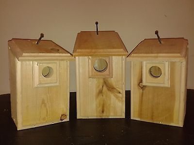 3 CEDAR Bird Houses 1 Bluebird, 1 Wren, 1 Chickadee Easy to Open and Clean