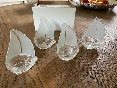 4 x Kate Aspen Glass Sail Boat Tea Light Candle Holder