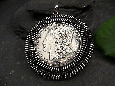 Top Silber Anhänger 1921 One Dollar Amerika Gefasst E Pluribus Unum USA Tracht