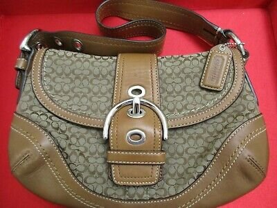 COACH Handbag Purse Leather & Fabric LOGO Trim Shoulder Camel/Beige Vintage Bag