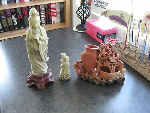 THREE SOAPSTONE SMALL SCULPTURES
