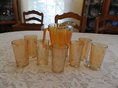 Carnival Glass Beverage Set (8) Pieces - Pitcher and (7) Tumblers     12-5 - Carnival Beverage