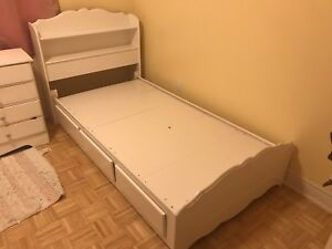2 Two White Single Twin Girls Beds Bedroom Set with Dresser