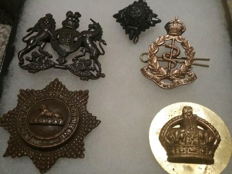 British WWI WWII  Hat Cap Badge INSIGNIA LOT