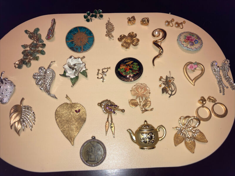 Vintage Lot Of Mixed Brooches Screw Back Earrings. Necklaces Estate Sale Find