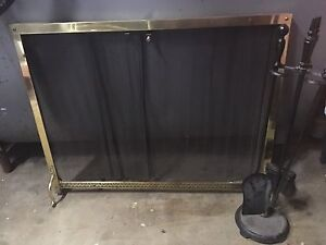 Fireplace tool set and fire curtain
