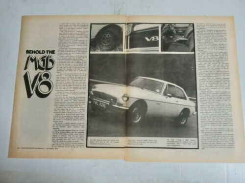 FACTORY MGB GT V8 3 PAGE AUSTRALIAN MAGAZINE PREVIEW & DRIVE ARTICLE