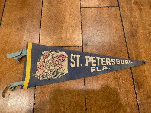 """Vintage ST. SAINT PETERSBURG FLORIDA FELT PENNANT 17"""" RARE"""