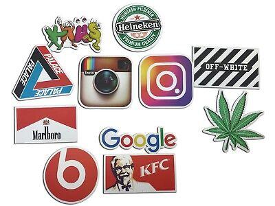 - 100 Stickers Vinyl Skateboard Social Media Street wear Sticker Brand Logo Decals