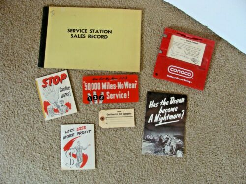 Vintage 60s Conoco Advertising Gas Station Sales Record Credit Card Machine More