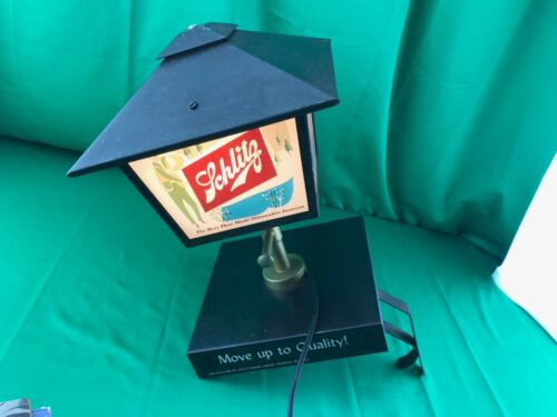 1958 Schlitz Beer Metal & Glass Wall Lantern Lighted Bar Sign Lamp ~ RARE