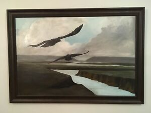Original framed painting crows 25x34