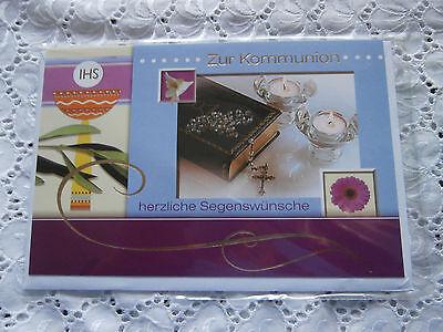 Elegante Glückwunschkarte Kommunion Kreuz Kerze Blume Gebetbuch IHS