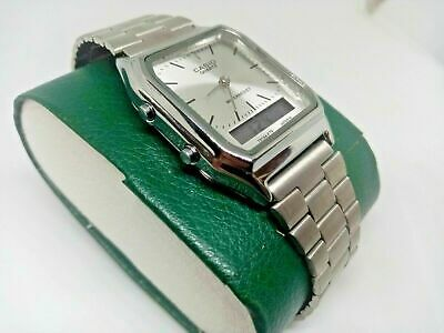 Casio Retro Watch AQ-230 Casio Silver & Silver Dual Time Combi Watch LTD Edition