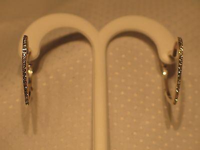 Vintage Sterling Silver Heart Hoop Rhinestone Earrings 1 Inch