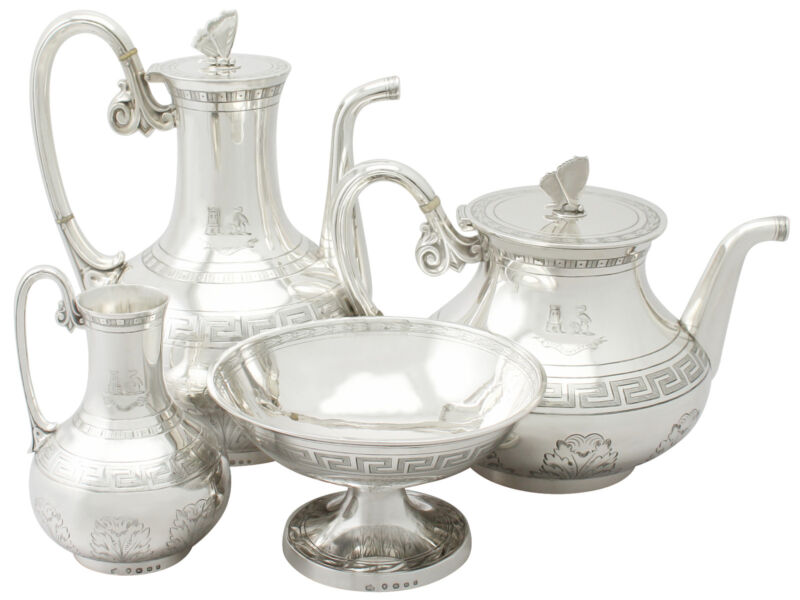 Antique Victorian Sterling Silver Composite Four Piece Tea And Coffee Set