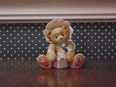 CHERISHED TEDDIES-BOBBIE-BABY GIRL BEAR WITH BLOCK GOOD CONDITION.